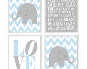 Baby Boy Nursery Art Chevron Elephant Nursery Prints  Kids Wall Art Baby Boys Room Baby Nursery Decor Playroom Rules Quote Art -