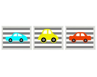 Car Art Print Set   prints - Nursery Boy Room - Orange Aqua Yellow Gray Stripes - Transportation Wall Art Home Decor