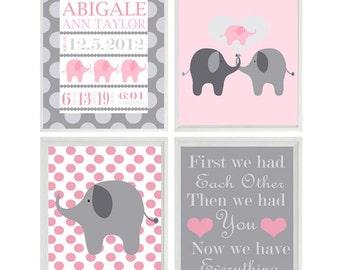 Elephant pink gray Etsy