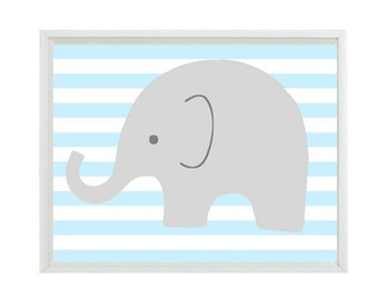 Elephant Nursery Wall Art Print - Light Blue Gray White Decor Stripes Children Kid Baby Room - Wall Art Home Decor  Print