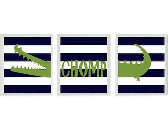 Alligator Nursery Art Prints - Navy Blue Stripes Green Gator Decor Chomp Madras - Children Kid Baby Boy Room - Home Decor