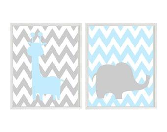 Baby Boy Nursery Art - Blue Gray Elephant Giraffe - Safari Zoo Animals Decor - Modern Baby Playroom- Wall Art Home Decor Set   Prints