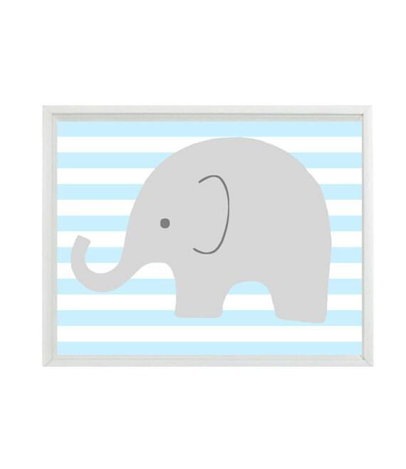 Elephant Nursery Wall Art Print Light Blue Gray White Decor Stripes Children Kid Baby Room