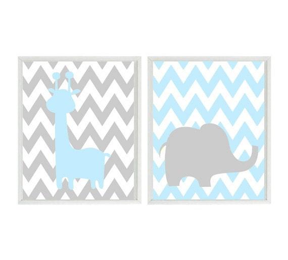 Baby Boy Nursery Art Blue Gray Elephant Giraffe Safari Zoo Animals Decor Modern Baby