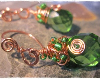 Faceted green glass briolette earrings with handmade copper wire earwires