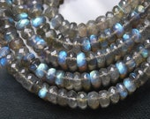 8 Inches Super Finest Natural BLUE FLASHY LABRADORITE Faceted Rondelles Size-5-6mm aprx