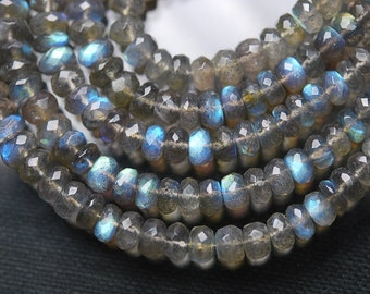 14 Inches, Super Finest Blue Flash, Labradorite Faceted Rondelles, Size 5-5.5mm
