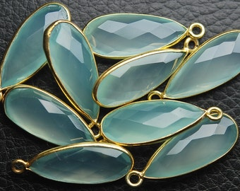 925 Sterling Vermeil Silver Aqua Chalcedony Faceted Pear Shape Pendant,10 Piece of 24mm