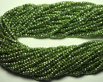 Full 13 inch Strand,AAA Quality,Mystic Green Pyrite Faceted Rondelles,Full Strand, 3.5mm size,