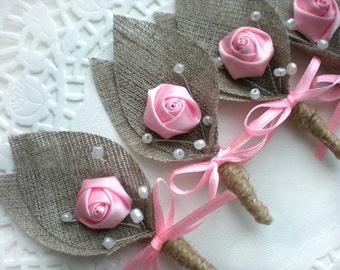 Set of 10-PINK Flower burlap Boutonniere (buttonhole)