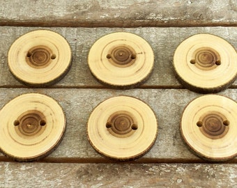 Wood Buttons - Handmade Wood Buttons - 6 Large Handmade Judas Tree branch buttons with the bark - 2  inches in diameter.For Pillows,Handbags