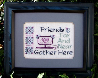 """SALE! Cross Stitch Instant Download Pattern """"Friends Far And Near"""" Counted Embroidery Chart Friendship Sentiment Saying Technology X stitch"""