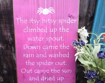 wooden sign, wall decor, subway art, wall hanging, itsy bitsy spider