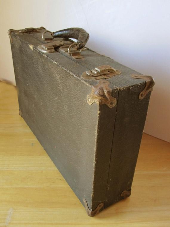 Vintage Briefcase Eagle Lock Co Terryville Conn Wood