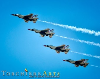 Airplane Photography, Airshow Formation, Airforce Airplane Art, USAF Thunderbirds Jets Decor, Air Force Airplane Wall Art, 8x10 Print