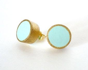 Mint green and gold stud earrings, wood post earrings, colorblock earrings