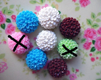 10pcs Mixed color resin flower cabochon round 15x18mm