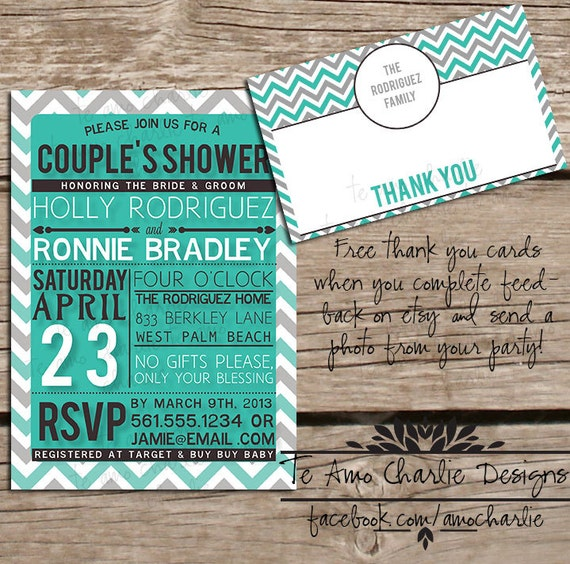 Items similar to Printable Couples Shower Invitations Bridal