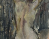 Large Original Art Painting - Female Nude in Gray - Grey Contemporary art - oil on canvas - Wall Home Decor - 32x35 inches (80x90 cm)