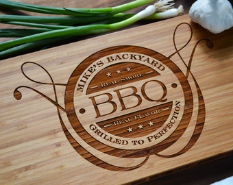 Personalized BBQ Board, Engraved Bamboo Wood