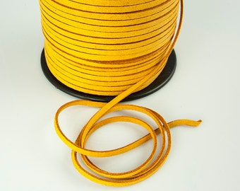 Amber Suede Cord, Orange, Faux Leather, 3mm, Pkg of 20 ft., S0DP.SU20.L20F