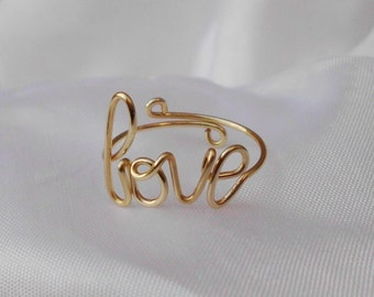 Gold Wire Love Ring Adjustable Dainty Ring