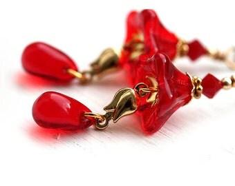 Red Flower earrings - golden tulips, glass dangle earrings, by MayaHoney, E43