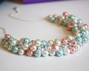 Pink Blue Ivory Crystal Pearl Cluster Necklace, Pink and  Blue Cluster Pearl Necklace, Pink and Blue Necklace