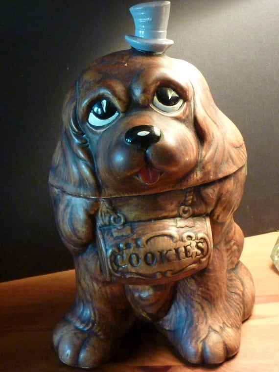 Vintage TREASURE CRAFT Cocker Spaniel Dog Cookie Jar 1962 Original Label  ..