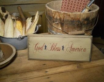 God Bless America primitive sign