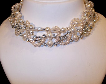 Bridal Jewelry, Chunky Pearl Necklace, Bridal Necklace, Wedding Pearl Necklace, Chunky Rhinestone Necklace