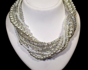 Wedding Pearl Necklace, Glass Pearls, Rhinestone Brides, Ivory, Handmade, Wedding Jewelry, Bridal Jewelry