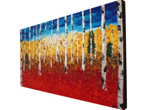 """48"""" Original Modern Abstract Textured Birch Forest Tree painting red art palette knife acrylic landscape painting by Sami"""