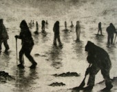 """Haunting Figure Print Dark Creepy Shadows Spooky Hand Pulled Intaglio Fine Art Drypoint """"After the Storm"""""""