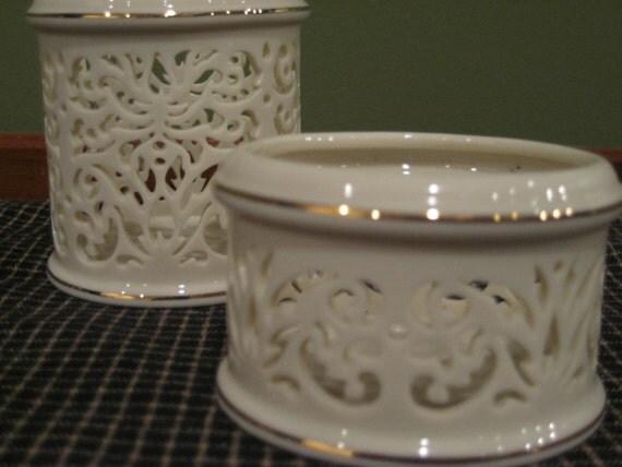 Items similar to lenox china pierced votive candle holders