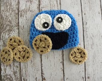 Crochet Monster hat and cookies. Newborn baby photo prop monster and cookies.