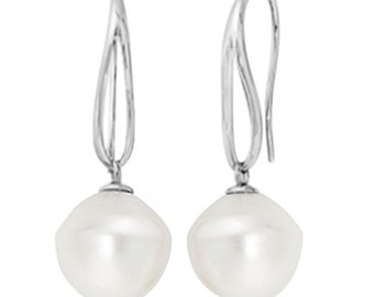 Circle South Sea Cultured Paspaley Pearl Earrings 14K White Gold (12.00mm)