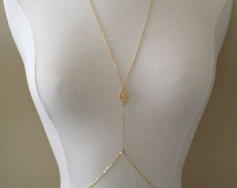 14k Gold Filled Body Chain with Filigree Connector, Body Chain, Beyonce, GQ, Gold Body Chain