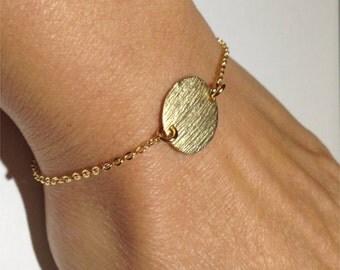 14k Gold Filled Bracelet, Vermeil Disc Bracelet, Dainty Bracelet, Minimalist Bracelet, Gold Bracelet