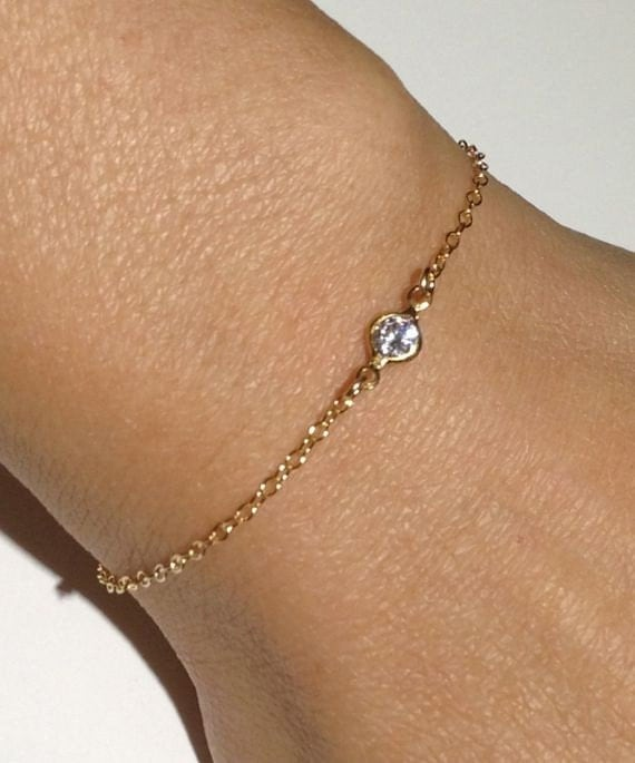 Bracelet With Charms: 14k Gold Filled Thin CZ Bracelet Dainty Bracelet Minimalist
