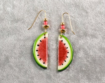 Handpainted ceramic watermelon earrings with 14k goldfilled earwires.
