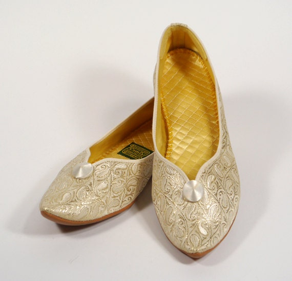 70s Daniel Green Comfy Boudoir Slippers Made In Usa Gold