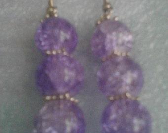Purple beaded dangle earrings
