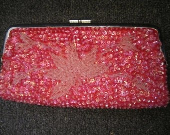 Vintage Raspberry Beaded and Sequin Clutch Purse, ca 1950s