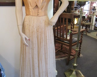 Vintage Pale Gold Net Gown with Peachy Satin Jacket, ca 1930s