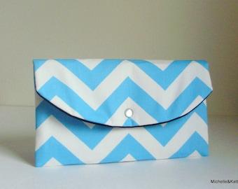 Aqua Blue Chevron clutch bridesmaid gift idea baby shower gift