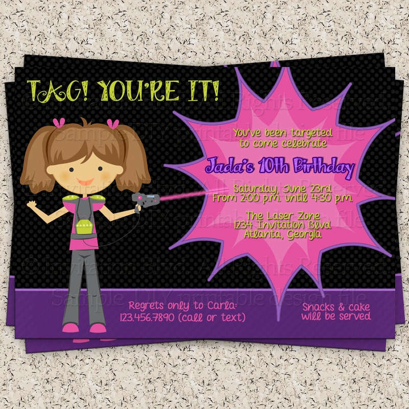 Free Laser Tag Invitation Template – Laser Tag Party Invitations