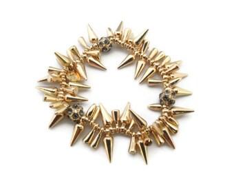 Gold Spike Bracelet, Spike Jewelry, Designer Inspired, Pave balls, Gold Statement Chunky Bracelet, Gift Stretch Spike Bracelet Anthropologie