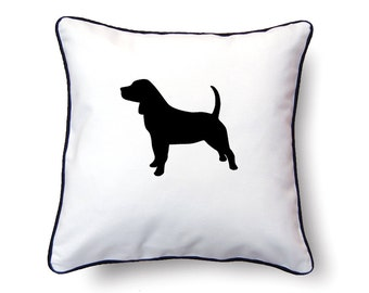 Beagle Pillow 18x18 - Beagle Silhouette Pillow - Personalized Name or Text Optional