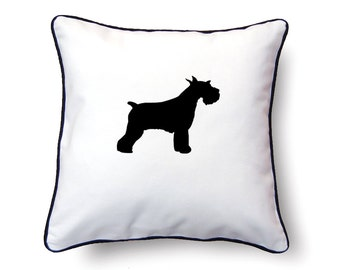 Schnauzer Pillow 18x18 - Schnauzer Silhouette Pillow - Personalized Name or Text Optional
